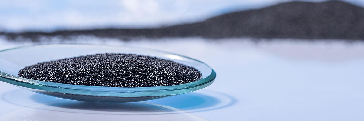 Some activated charcoal or active carbon in a culture dish at IBU-tec for tolling services or material development