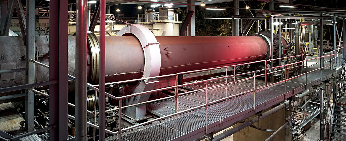 Large rotary kiln GDO at IBU-tec used for tolling services or contract manufacturing as well as process trials and scale-up in thermal processing